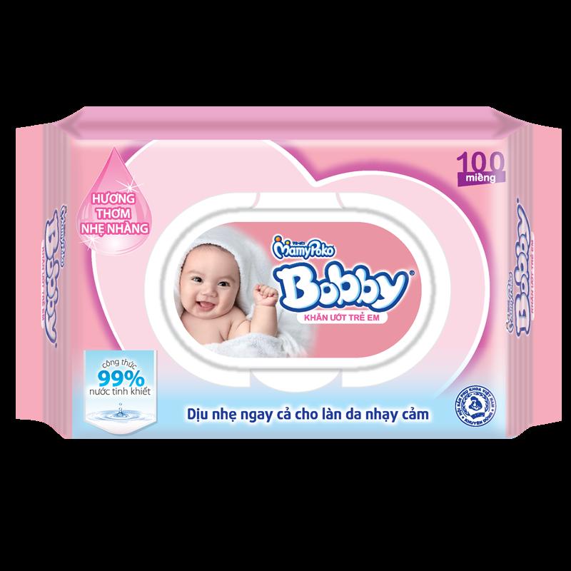 Giấy ướt Bobby (mùi thơm) (100 tờ)