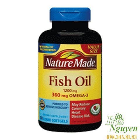 Dầu cá omega 3 Nature Made Fish Oil 200 viên