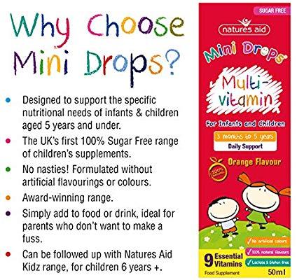 Vitamin tổng hợp Multi Vitamin Drop Natures Aid 50ml (3m+)