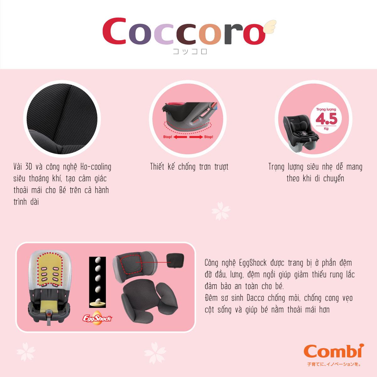 Ghế ngồi ô tô Combi Coccoro EG màu đen