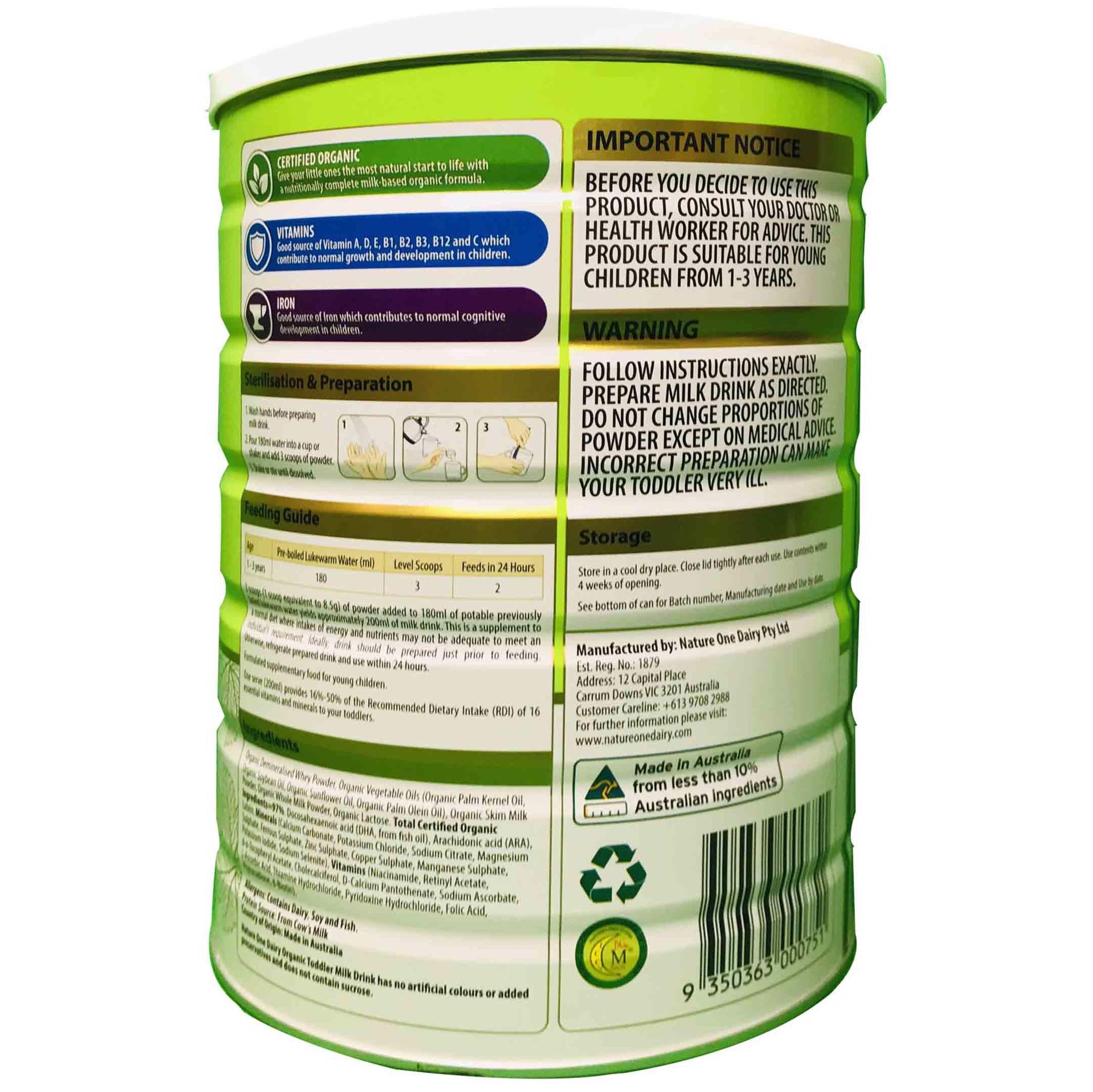 Sữa Nature One Organic số 3 900g (1-3 tuổi)