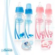 Bộ 2 bình sữa Dr Brown's cổ thường & 1 ty ngậm 0-6m (250ml)