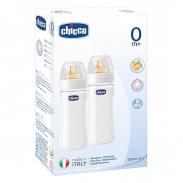 Bộ 2 bình sữa nhựa Chicco núm silicon 250ml