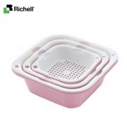 Bộ rổ chậu vuông SML (3 bộ) Richell - hồng