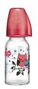 Bình sữa Nip thủy tinh cổ thường hồng M(125ml)(0-6m)