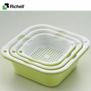 Bộ rổ chậu vuông SML (3 bộ) Richell - xanh