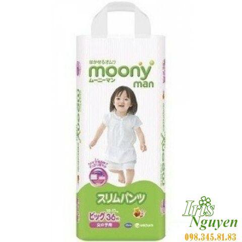 Bỉm Moony quần bé gái XL36