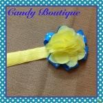Băng đô hoa màu vàng xanh cho bé