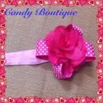Băng đô hoa to màu hồng cho bé