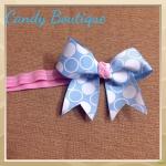 Băng đô hồng nơ xanh cho bé