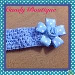 Băng đô hoa đai to màu xanh cho bé