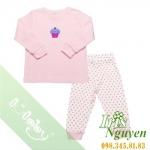 Pijama lullaby bé gái áo hồng quần trắng