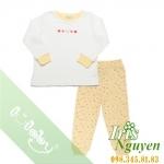 Pijama lullaby bé gái áo trắng viền vàng