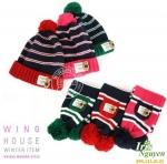 Bộ mũ khăn kẻ đính gấu Winghouse